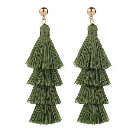 Amazon.com: BaubleStar Fashion Gold Tassel Dangle Earrings Layered Long Bonita Tiered Green Thread Tassel Drop Statement Jewelry for Women Girls B054G: Jewelry