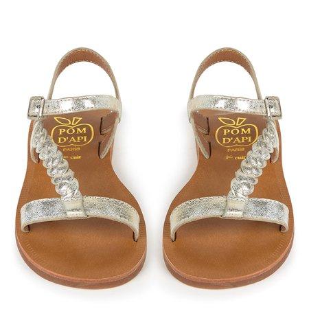 Sandales tressées en cuir Plagette Antik Pom d'Api for girls | Melijoe.com