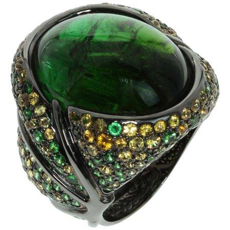 Mousson Atelier Green 23.30 Carat Tourmaline Yellow Sapphire Tsavorite 18 Karat Black Gold Ring