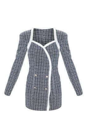 Black Tweed Contrast Detail Blazer Dress | PrettyLittleThing USA