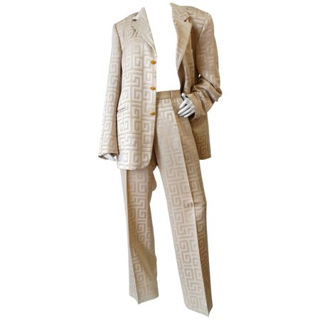 Gianni Versace Couture Silk Greek Key Printed Tan Suit, 1980s For Sale at 1stdibs