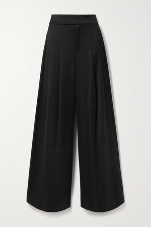 Alice Olivia - Merilyn Wool-blend Wide-leg Pants - Black
