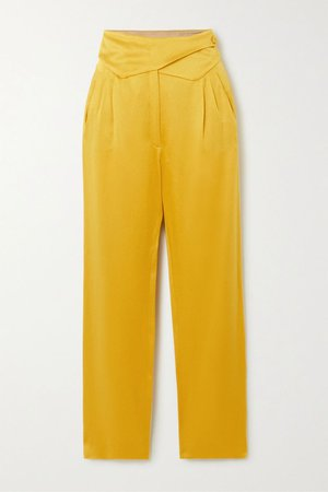 Mustard Basque wrap-effect satin straight-leg pants | Blazé Milano | NET-A-PORTER