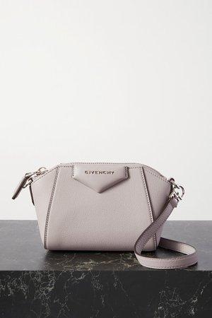 Antigona Nano Textured-leather Shoulder Bag - Gray