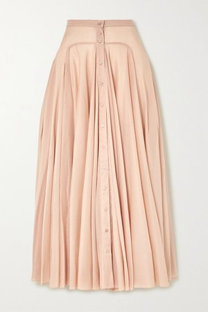Beige Pleated cotton-voile maxi skirt | Alaïa | NET-A-PORTER