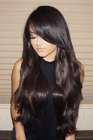 Becky G Straight Dark Brown Long Layers, Overgrown Bangs, Sideswept Bangs Hairstyle | Steal Her Style
