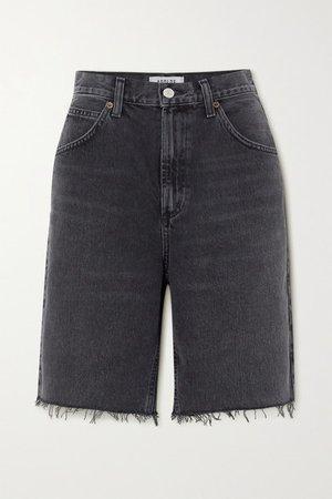 Pinch Distressed Denim Shorts - Black