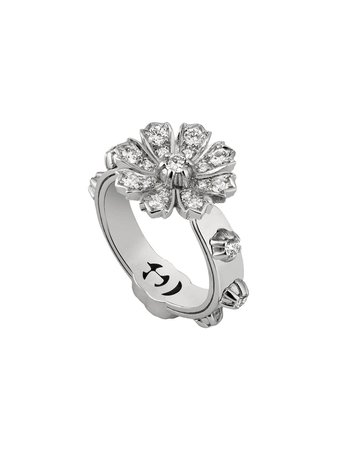 Gucci Ring With Flower And Diamonds - Farfetch