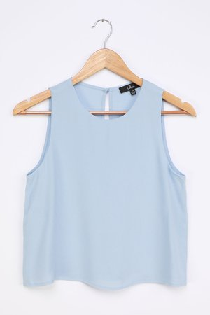 Cute Light Blue Top - White Sleeveless Top - White Tank Top - Lulus