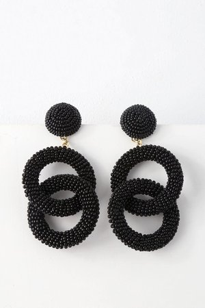 Chic Black Earrings - Beaded Earrings - Beaded Statement Earrings