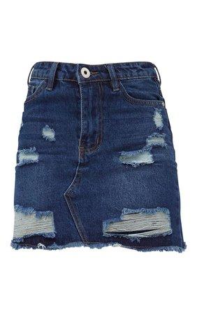 Black Distressed Rip Denim Mini Skirt | Denim | PrettyLittleThing USA