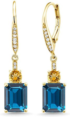 Amazon.com: Gem Stone King 5.93 Ct London Blue Topaz Yellow Citrine 18K Yellow Gold Plated Silver Earrings: Jewelry