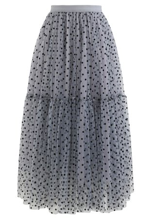 Can't Let Go Dots Mesh Tulle Skirt in Dusty Blue - Retro, Indie and Unique Fashion