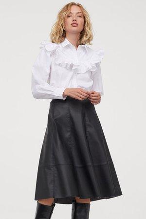 Ruffled Cotton Blouse - White - Ladies | H&M US