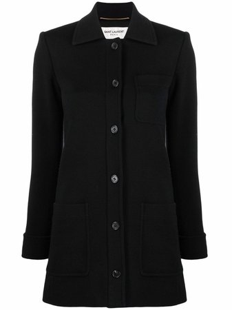 Shop Saint Laurent wool jersey fitted coat with Express Delivery - FARFETCH