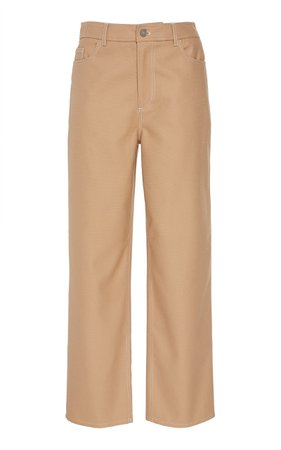 Ganni Chino Cropped Straight-Leg Pants