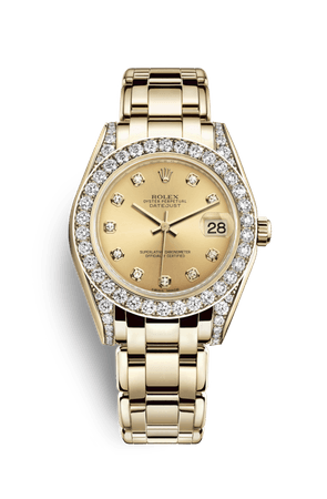 Rolex Pearlmaster 34 Watch: 18 ct yellow gold with lugs set with diamonds - M81158-0013