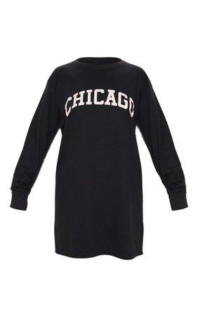 Black Chicago Slogan Long Sleeve Mini Dress   PrettyLittleThing USA