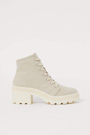 Cotton Twill Boots - Beige