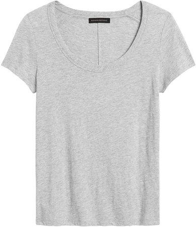 Slim Slub Cotton-Modal Scoop-Neck T-Shirt