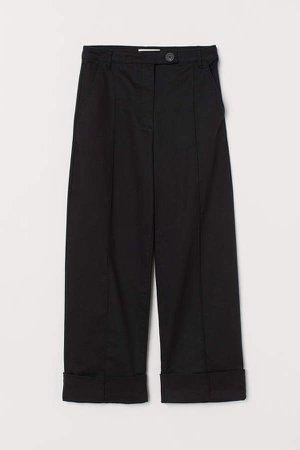 Straight Twill Pants - Black