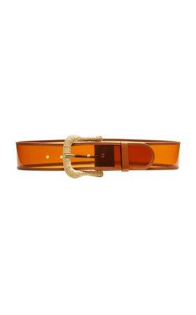 Zimmermann Rattan-Embellished Leather-Trimmed PVC Belt Size: M/L
