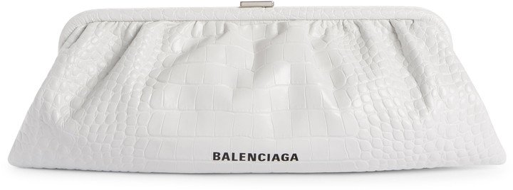 Extra Large Cloud Croc Embossed Leather Clutch