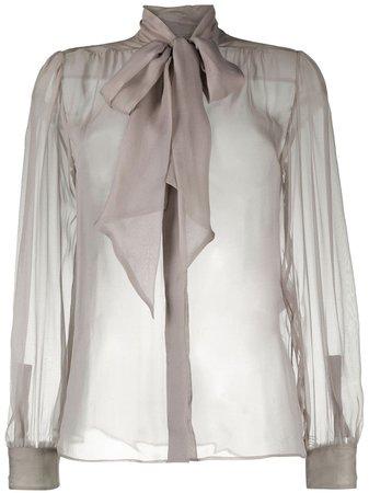 Saint Laurent sheer silk bow blouse