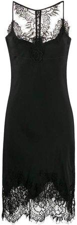 lace-trimmed slip silk dress