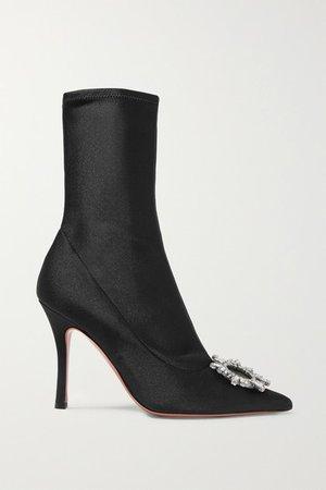 Begum Crystal-embellished Stretch-satin Sock Boots - Black