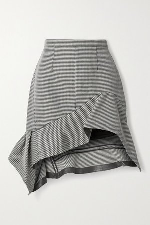 Asymmetric Ruffled Leather-trimmed Houndstooth Wool-blend Mini Skirt - Black