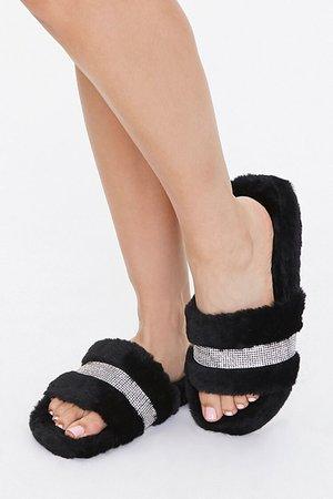 Plush Rhinestone Slippers | Forever 21