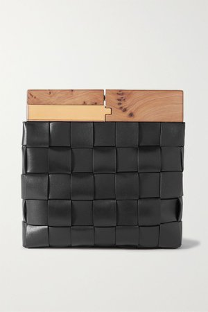 Black Wood intrecciato leather clutch | Bottega Veneta | NET-A-PORTER