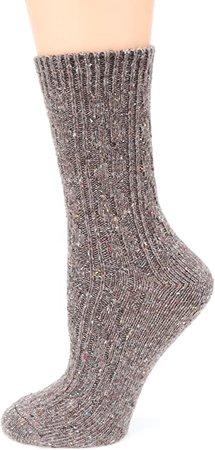 MIRMARU M102-Women's Winter 4 Pairs Wool Blend Crew Socks Collection(Grey, Burgundy, Brown, Black), Medium / Shoe Size:6-9. at Amazon Women's Clothing store