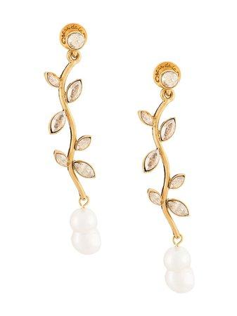 Oscar De La Renta, Crystal Stem Earrings