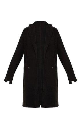 Black Wool Pocket Front Coat   PrettyLittleThing USA