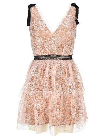 Self Portrait Starlet Mini Rose Lace Dress