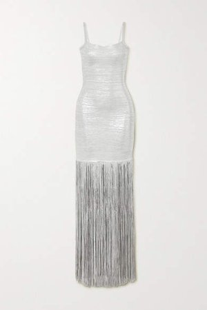 Fringed Metallic Coated-bandage Gown - Silver
