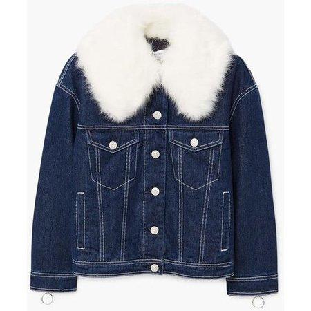 Faux Fur Neck Denim Jacket