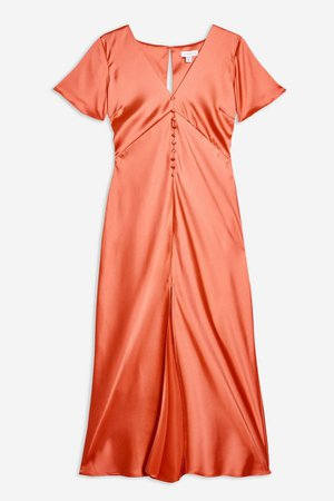 Satin Angel Sleeve Dress | Topshop orange