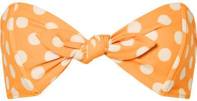 Poppy Knotted Polka-dot Stretch-crepe Bikini Top - Orange