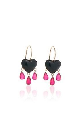 Bleeding Heart 14k Gold, Onyx And Ruby Earrings By Rachel Quinn | Moda Operandi