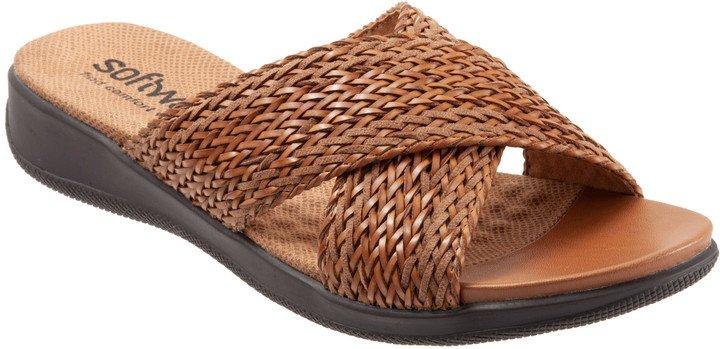 'Tillman' Leather Cross Strap Slide Sandal