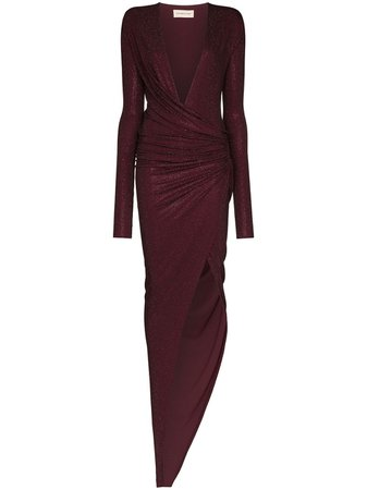 Draped Plunge-Neck Gown Dress