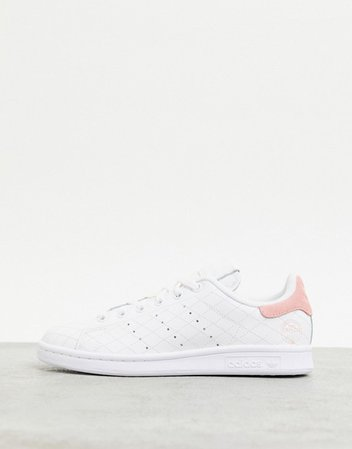 adidas Originals quilted Stan Smith sneakers in white and pink | ASOS