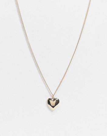 Pieces heart locket necklace in gold | ASOS
