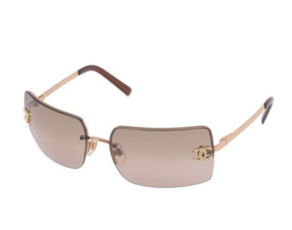 brown chanel rimless sunglasses
