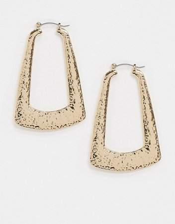 Topshop oversized oval earrings in molten gold | ASOS