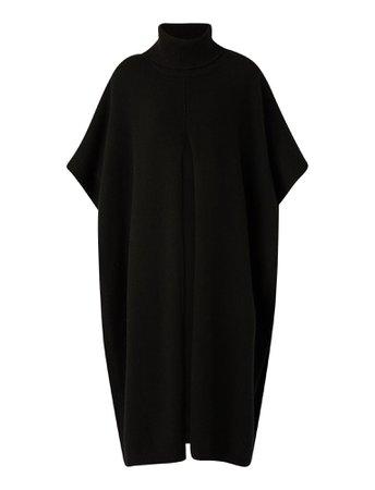 Poncho Scarf-Pure Cashmere Knitwear in Black | JOSEPH