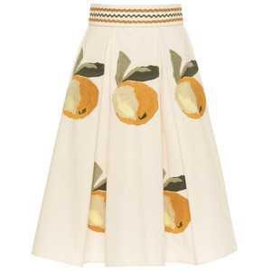 "Cream skirt with embroidered citrus fruits by Lena Hoschek ""Juana Skirt"""